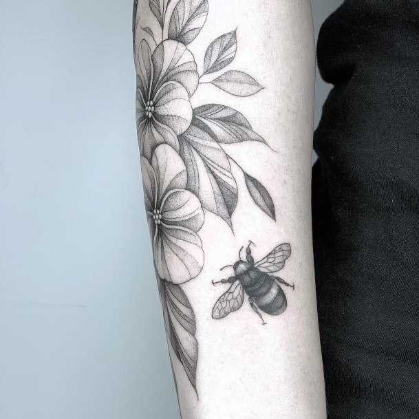 Leafy Grey Blossom And Bee Tattoo For Women