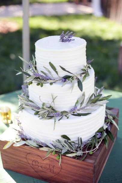 Leafy Lavender Flowers On Wedding Cake White Art