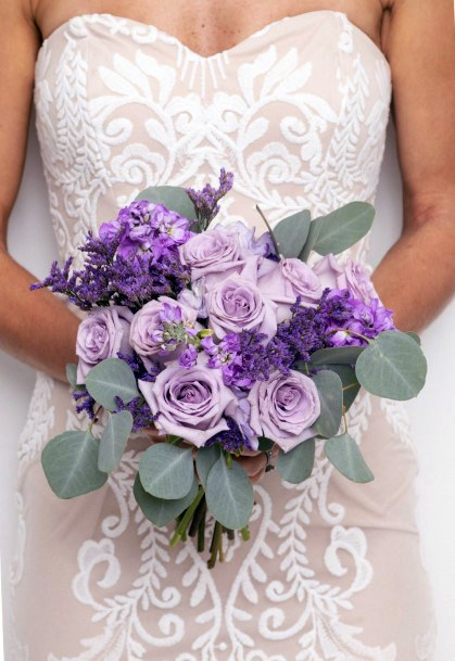 Leafy Lavender Roses Wedding Flowers