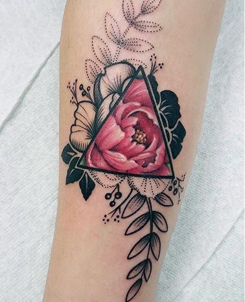 Leafy Pink Rose And Geometric Frame Tattoo Women Art