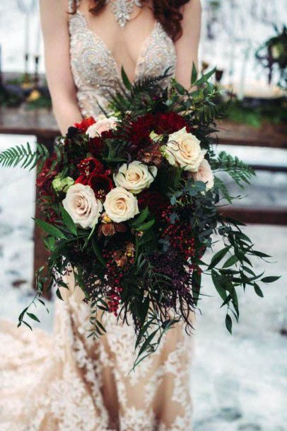 Leafy Red Wedding Flowers