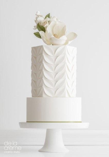 Leafy Textured White Wedding Cake