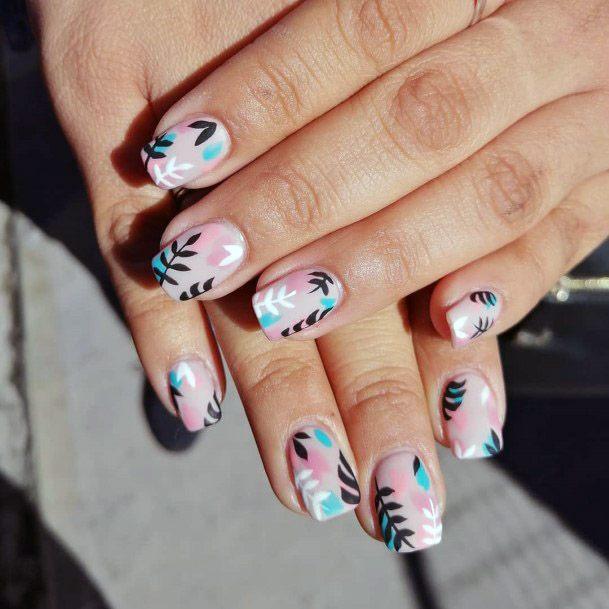 Leafy Tropical Nails Women