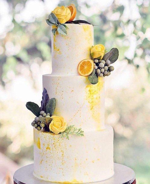 Lemon Zest White 3 Tier Wedding Cake Women