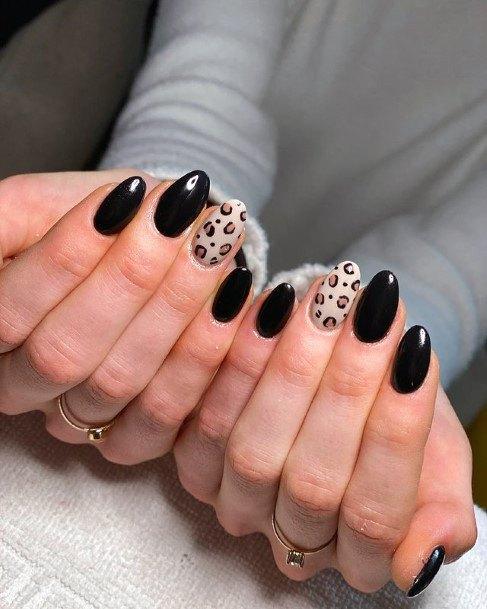 Leopard Accent Black Nails Women