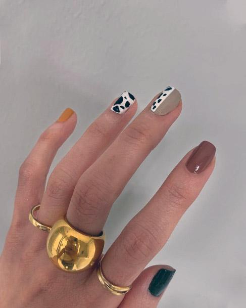 Leopard Art Short Nails Women