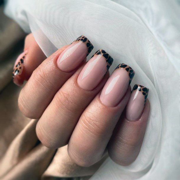 Leopard French Manicure Nails Women
