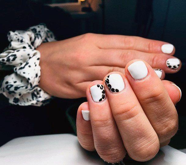 Leopard Print On White Gel Nails Women