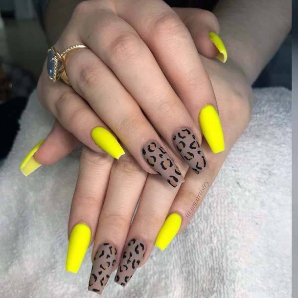 Leopard Prints And Bright Yellow Nails For Women