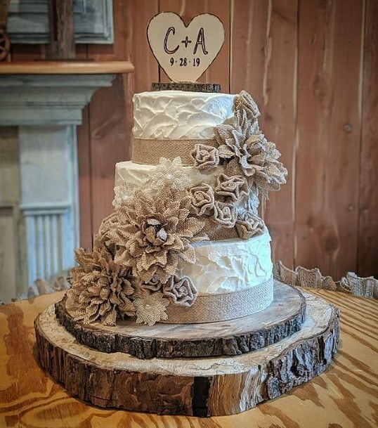 Letters On Heart Rustic Wedding Cake Toppers