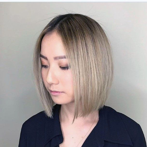 Levelled Center Parted Bob Hairstyle For Women