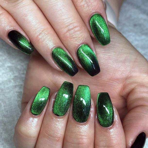 Light And Dark Green Cat Eye Nail Design