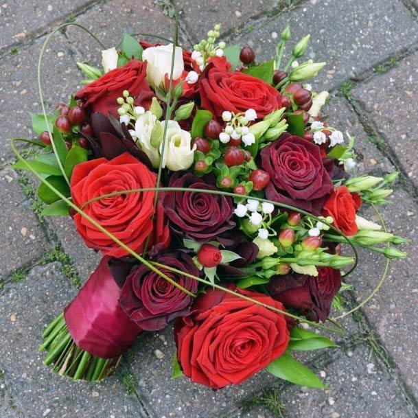 Light And Dark Red Roses Wedding Flowers