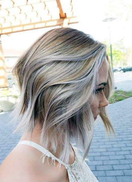 Light Ash Bob With Wave And Side Part Slight Pink Highlights Womens Airy Hairstyles