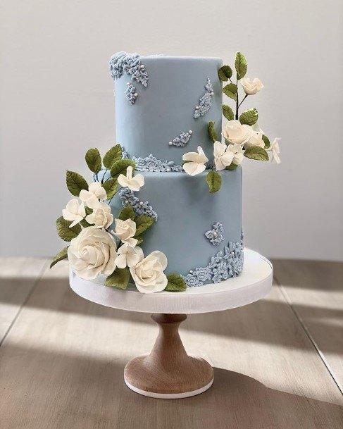 Light Blue 2 Tier Wedding Cake