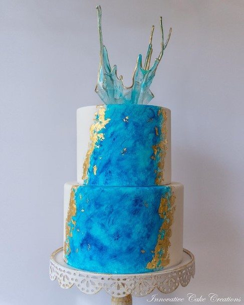 Light Blue And Gold 2 Tier Wedding Cake
