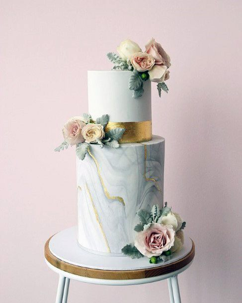 Light Blue And Gold Wedding Cake