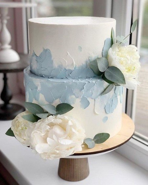 Light Blue Buttercream Wedding Cake