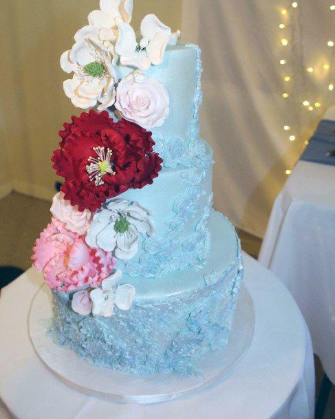 Light Blue Icing Design Wedding Cake Ideas