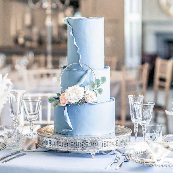 Light Blue Shaded Wedding Cake