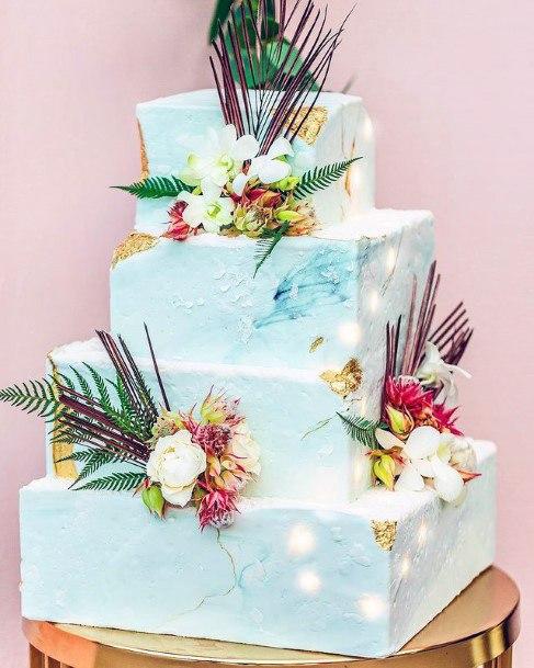 Light Blue Square Wedding Cake