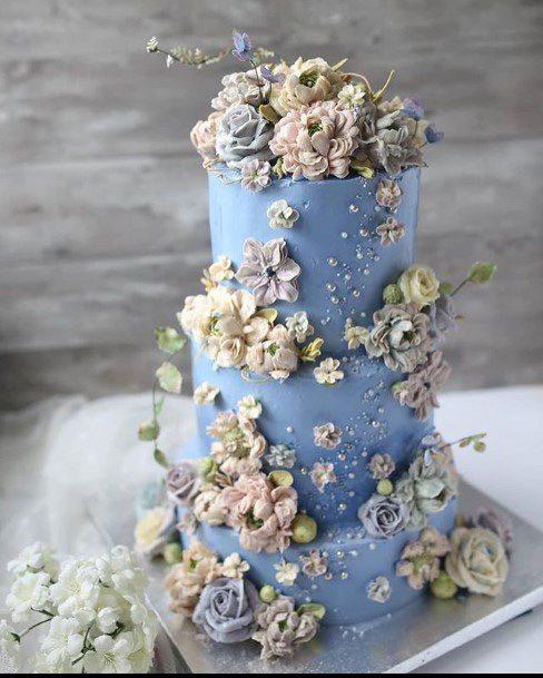 Light Blue Wedding Cake With White Flowers