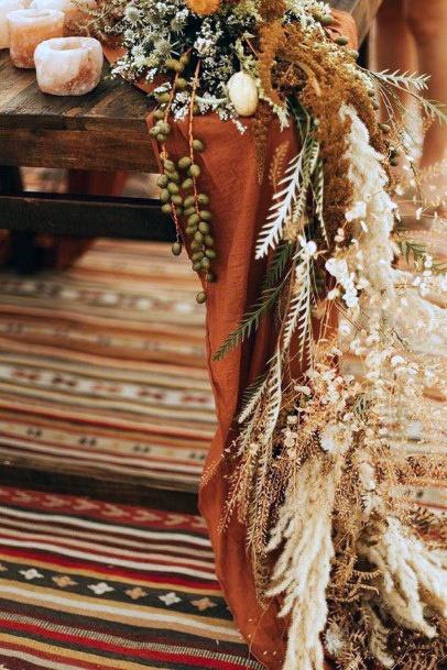 Light Brown And Golden Boho Wedding Flowers