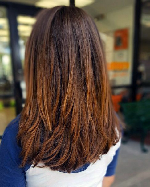 Light Brown Long Straight Airy Hair With Chocolate Roots