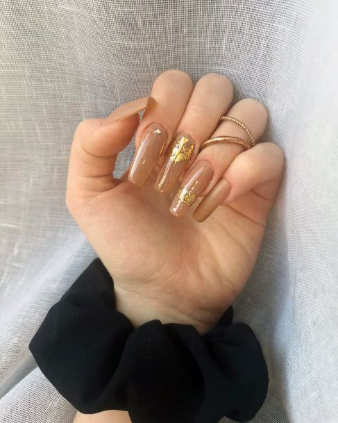 Light Brownish Gold Transparent Nails Women