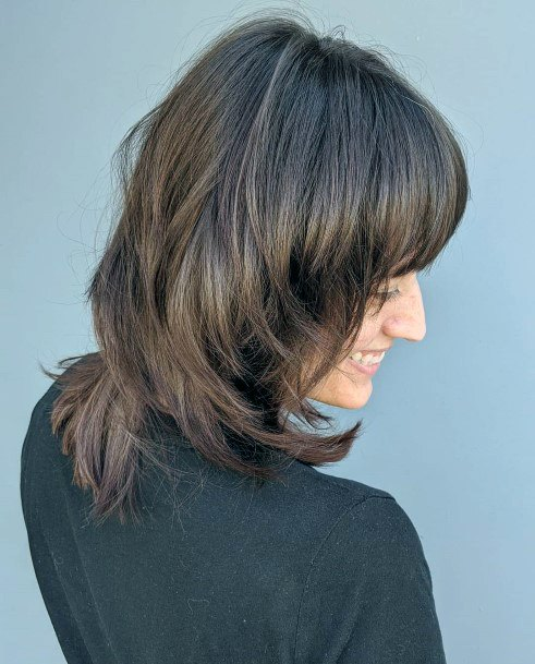 Light Chestnut Shoulder Length With Long Side Bangs
