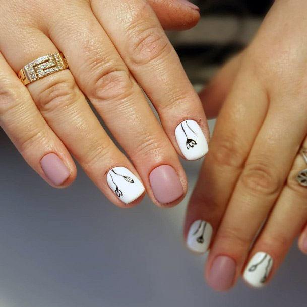 Light Colored Short Nail Ideas Women