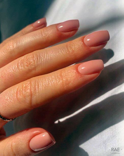 Light Coral Natural Nail Ideas For Women