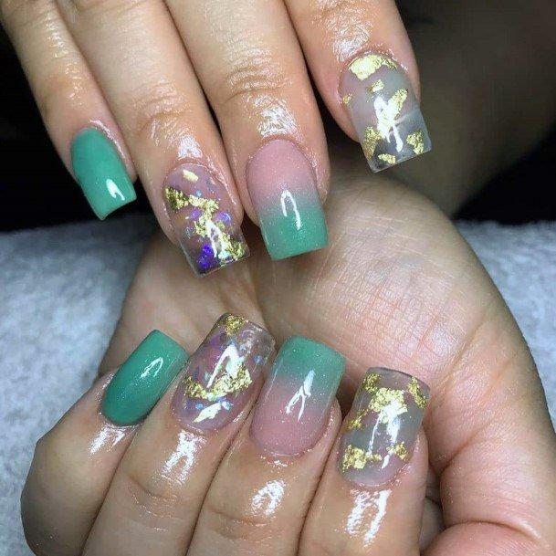 Light Green Iridescent Nails Women