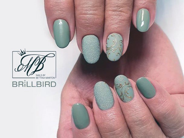 Light Green Nails With Gold Leaf Design Women