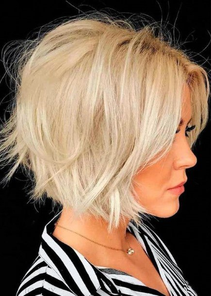 Light Haired Blonde Female With Short Layered Bob