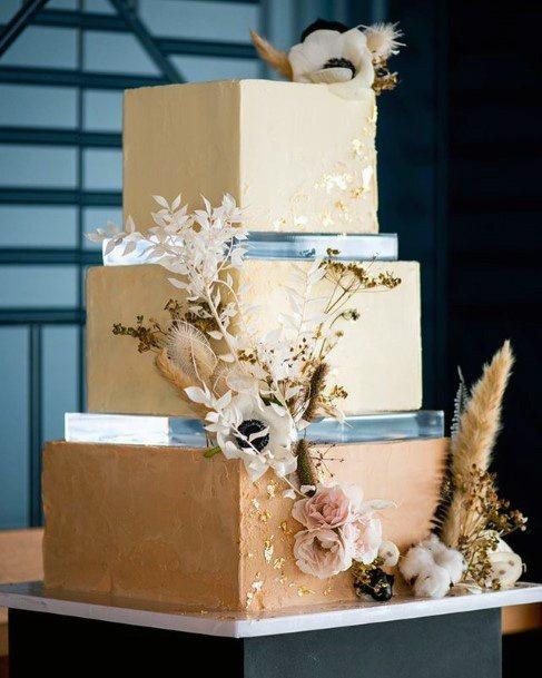 Light Hazel Brown Square Wedding Cake
