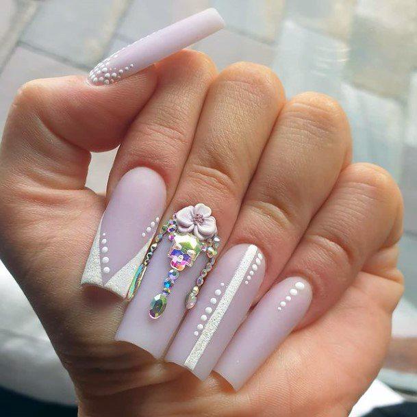Light Lilac 3d Flowers Nails Women