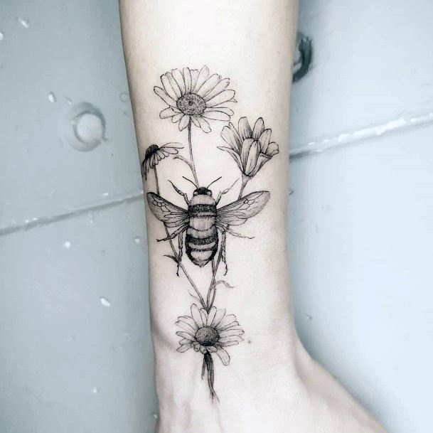 Light Lilies And Bees Tattoo For Women