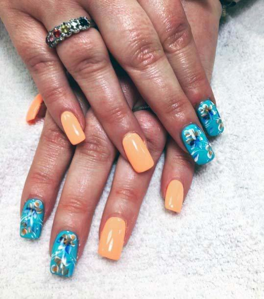 Light Orange And Blue Blossoms Nails For Women