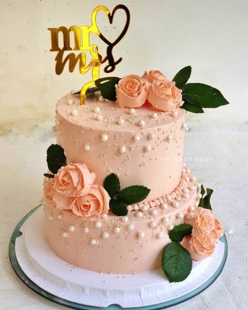 Light Orange Beaded 2 Tier Wedding Cake