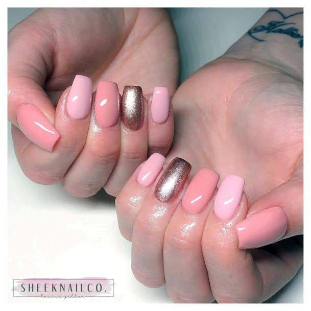 Light Pastels With Brown Glitter Nail Art
