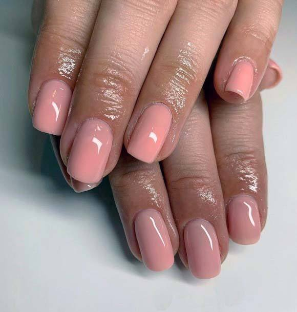 Light Peach Pink Polished Nail