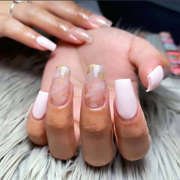 Light Pink And Gold Simple Nail Art