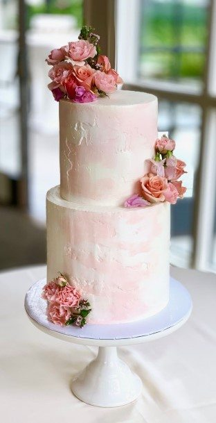Light Pink Buttercream Wedding Cake