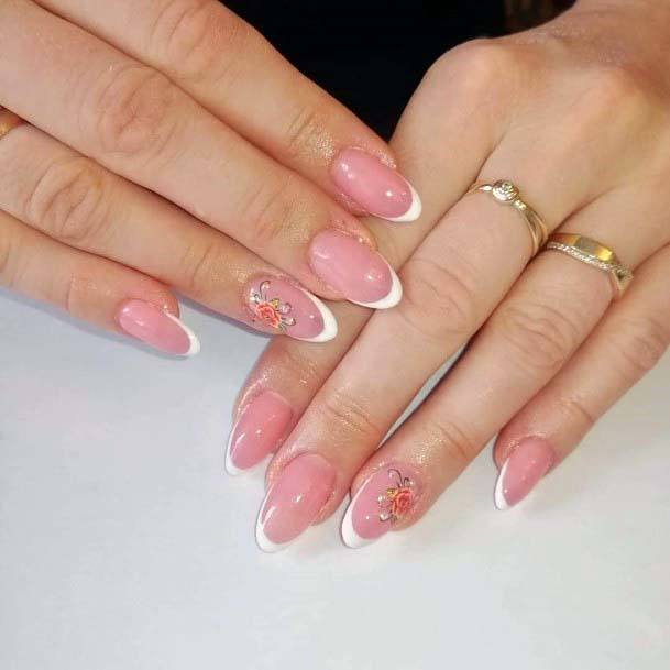 Light Pink French Manicure With Floral Motif