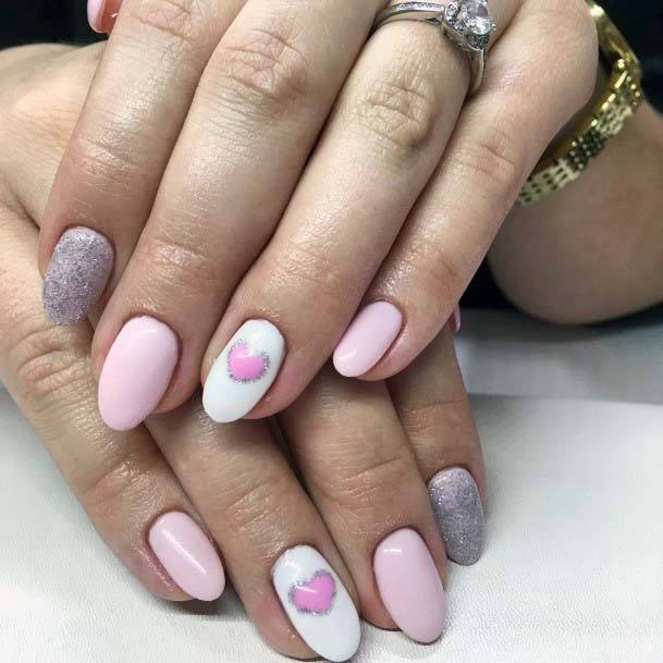 Light Pink Hearts On White Nails