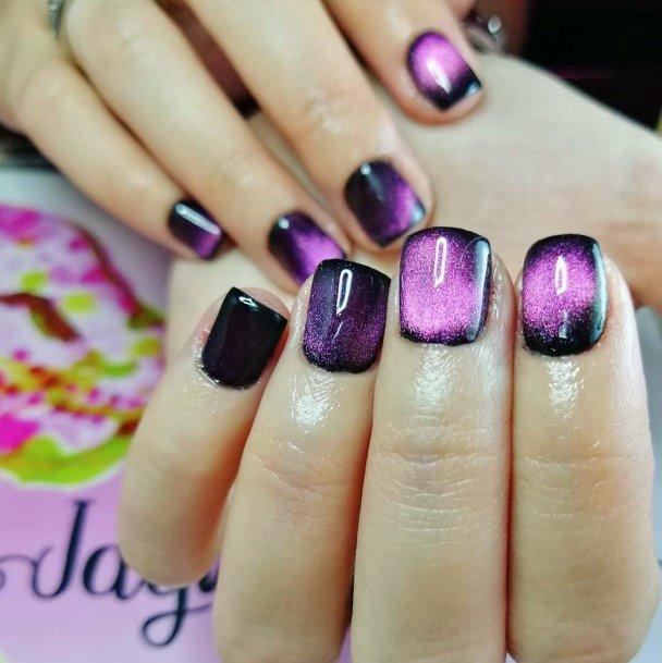 Light Pink Highlights Cat Eye Nails