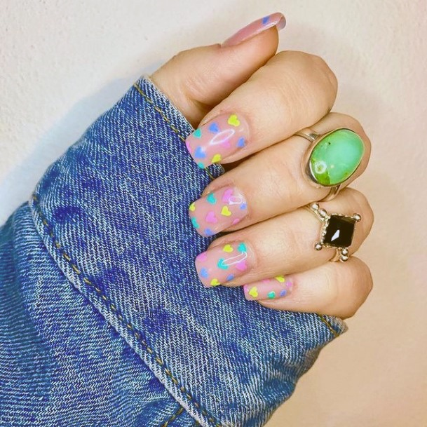 Light Pink Nails With Confetti Design Romantic Nails