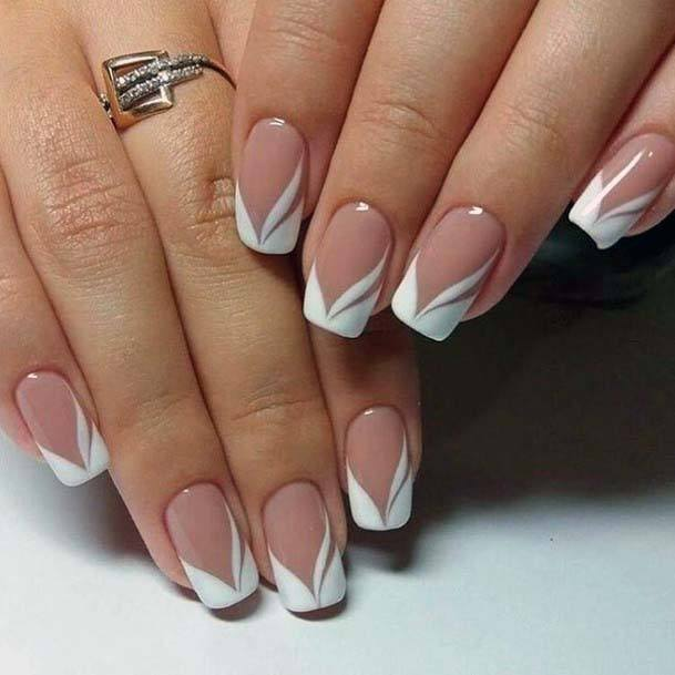 Light Pink Square Nails With Daisy Tips For Women