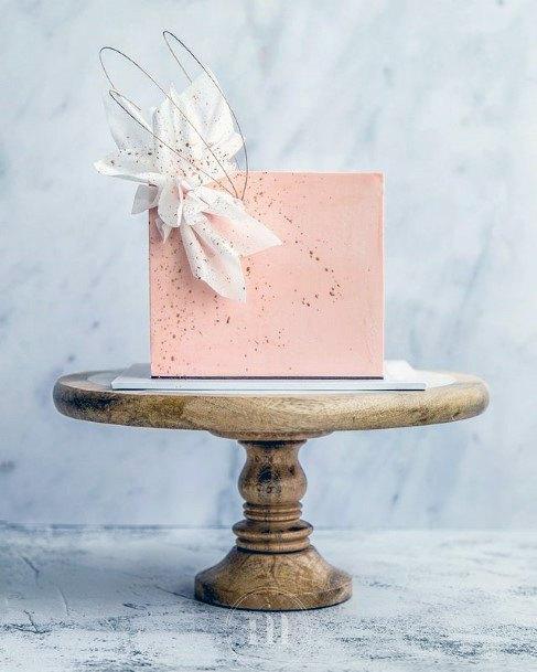 Light Pink Square Wedding Cake